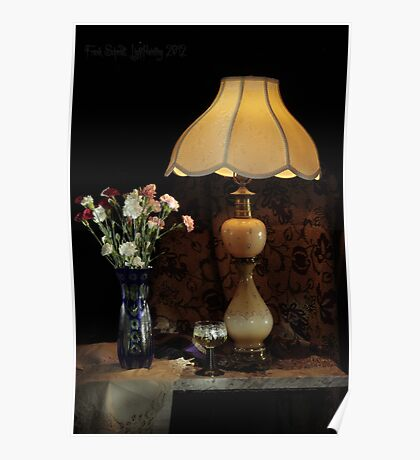 Blue Vase, Lamp and White Wine Poster