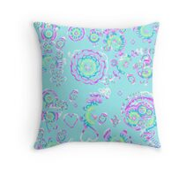 Rainbow Flower Vintage Floral Throw Pillow