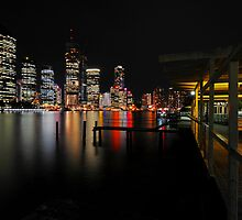 Brisbane River & City By Night. Queensland, Australia. by Ralph de Zilva