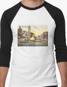 Music Follows You Into Fantasy, Cheri. (Surrealist Collage) Men's Baseball ¾ T-Shirt