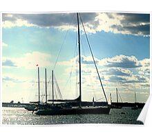 Sailboat Silhouette, sails down, Newport RI harbor Poster