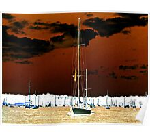 Golden Waters, Sailboat in an Inverted World Poster