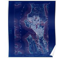 USGS Topo Map Washington State WA Seattle 243640 1909 62500 Inverted Poster