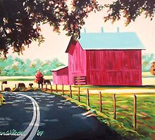 Barn by highway by Dan Wilcox