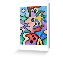 Lady with Floral Hat and Scarf Greeting Card