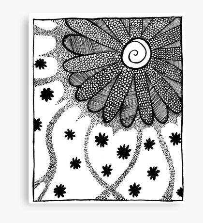 Flower in Pen and Ink Canvas Print