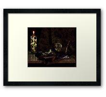Globe and Oil Lamp Framed Print