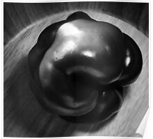 B&W Bell Pepper in Wooden Bowl Poster