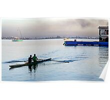 Early morning rowers, bay of Jagua, Cienfuegos, Cuba Poster
