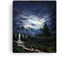 'Distant Waterfall' Oil Painting Canvas Print