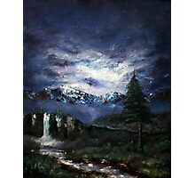 'Distant Waterfall' Oil Painting Photographic Print