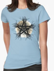 Pentagram and Moon Womens Fitted T-Shirt