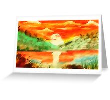 Orange sunrise for fishing,  watercolor Greeting Card