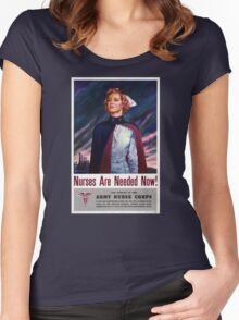 Nurses are needed now - Vintage WWII Poster Women's Fitted Scoop T-Shirt