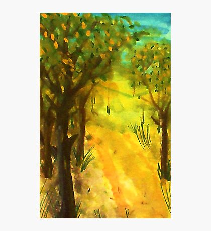 Tree path in the sun, watercolor Photographic Print