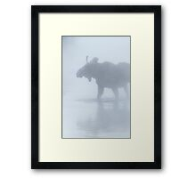 Bull Moose in Winter Steam Framed Print