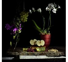 Grapes, Walnuts, Flowers and Fruit Photographic Print