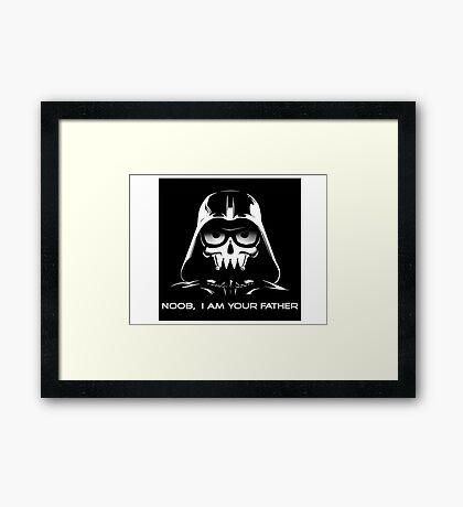 """Funny """"Noob, I Am Your Father"""" Darth Vader Design Framed Print"""