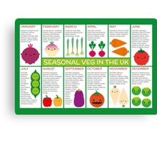 UK Seasonal Vegetables Chart Canvas Print