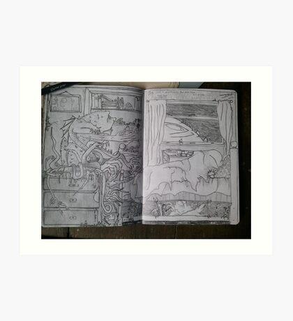 Sketchbook Project - It's just a nightmare Art Print