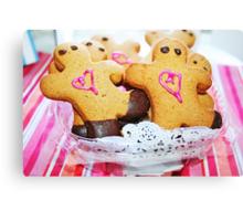 Pink Heart Gingerbread Men Canvas Print