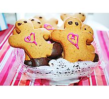 Pink Heart Gingerbread Men Photographic Print