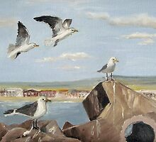 Seabirds and Breakwater by Marie Theron