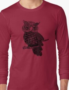 Cute Owl On Tree Long Sleeve T-Shirt