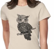 Cute Owl On Tree Womens Fitted T-Shirt