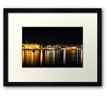 Reflecting on Malta - Cruising Out of Valletta's Grand Harbour Framed Print