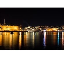 Reflecting on Malta - Cruising Out of Valletta's Grand Harbour Photographic Print