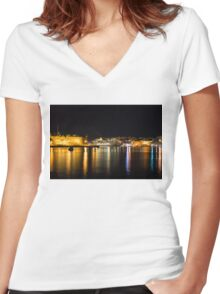 Reflecting on Malta - Cruising Out of Valletta's Grand Harbour Women's Fitted V-Neck T-Shirt