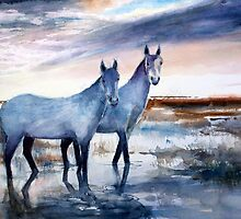 Carmargue ponies by HurstPainters