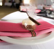 Pink napkin and candy table-setting for a wedding...  by Qnita
