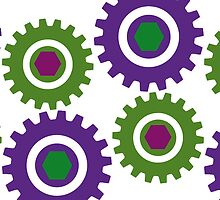 Retro Cogs Purple & Green  by Anthony  Poynton
