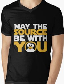 May The Source Be With You - Tux Edition Mens V-Neck T-Shirt