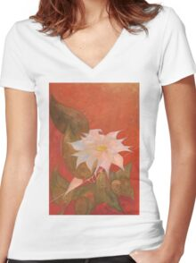Flowers 10 Women's Fitted V-Neck T-Shirt
