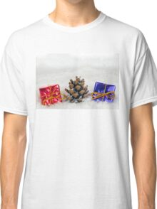 Christmas Presents and Fir Cone in Snow Classic T-Shirt