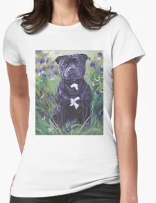 Staffordshire Bull Terrier Fine Art Painting Womens Fitted T-Shirt