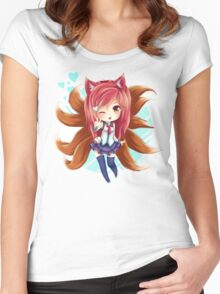 Chibi Academy Ahri Women's Fitted Scoop T-Shirt