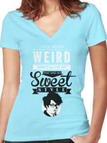 I like Being Weird  Women's Fitted V-Neck T-Shirt