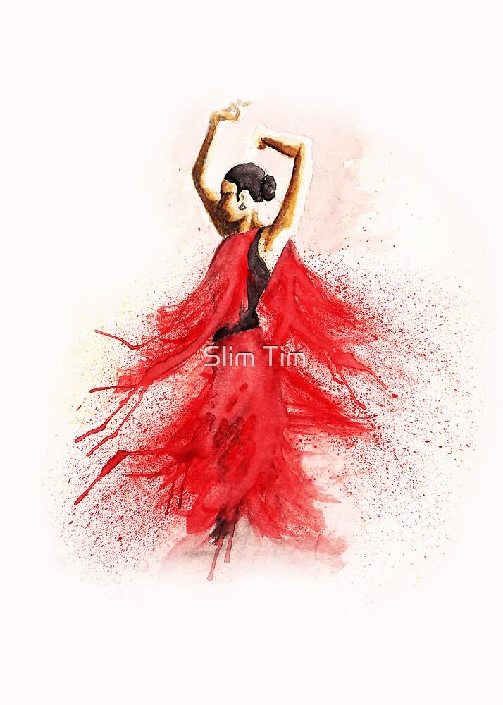 Bailaora de flamenco - Rojo y Negro by TCottee