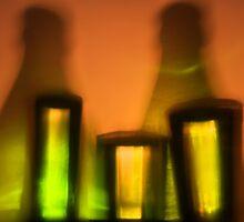 Bottles multi-colored, glasses, juice by larisa  fedotova
