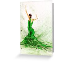 Bailaora de flamenco - Verde Greeting Card