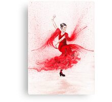 Bailaora de flamenco - Rojo Canvas Print