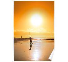 lone fisherman fishing on the sunset beach Poster