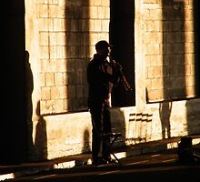 Musician on the High Line, New York by lenspiro