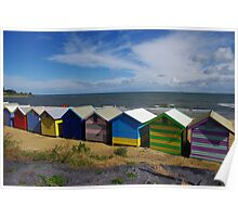 Bathing boxes by the seaside Poster