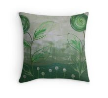 The green Scene Throw Pillow