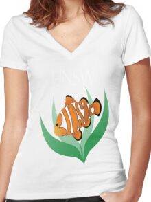 BIOSOC Logo with white text Women's Fitted V-Neck T-Shirt